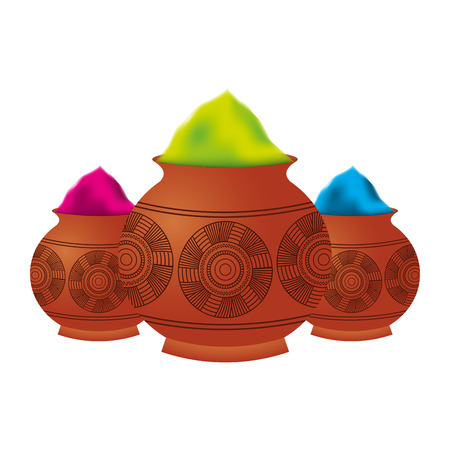 three powder color mud pot and mandala vector illustration Ilustracja