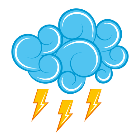 blue cloud thunderbolt storm cartoon image vector illustration Illustration