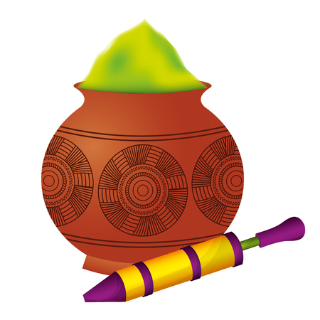 powder color mud pot and for celebration vector illustration