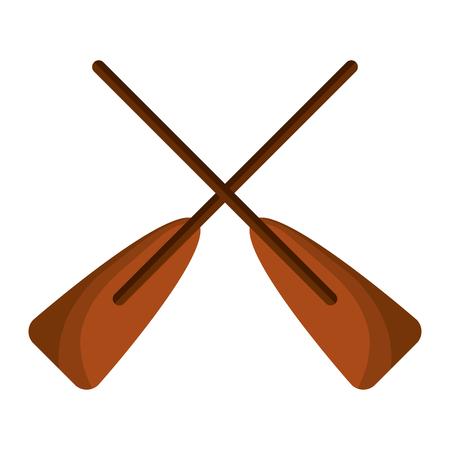 deux rames en bois bateau croisé sport illustration vectorielle