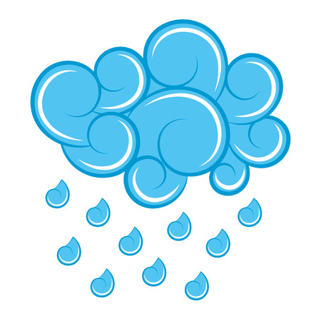 blue cloud rain drops atmosphere cartoon image vector illustration Ilustração
