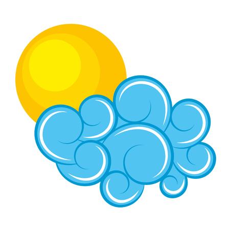 blue cloud and sun climate cartoon image vector illustration Ilustrace