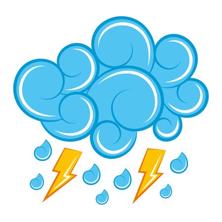 blue cloud lightning raindrops cartoon image vector illustration