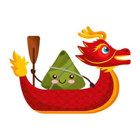 red dragon rice dumpling paddling festival chinese vector illustration