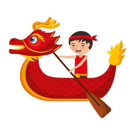 레드 드래곤 남자 노를 축제 중국어 번체 중국어 벡터 일러스트 레이션