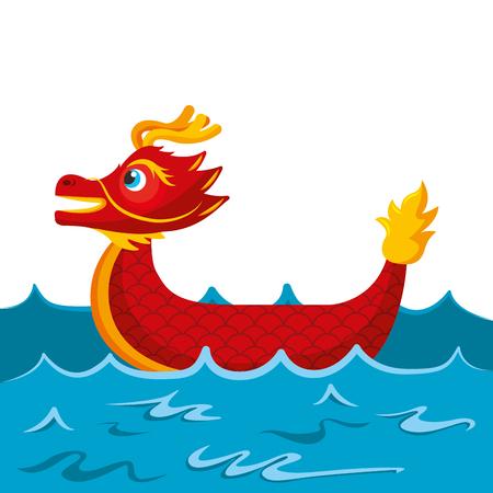Bateau de dessin animé rouge dragon chinois en illustration vectorielle de mer Banque d'images - 94689466