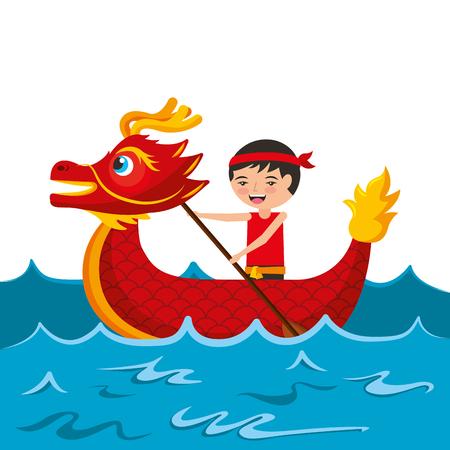 赤いドラゴンマンローイングフェスティバル中国の伝統的なベクトルイラスト