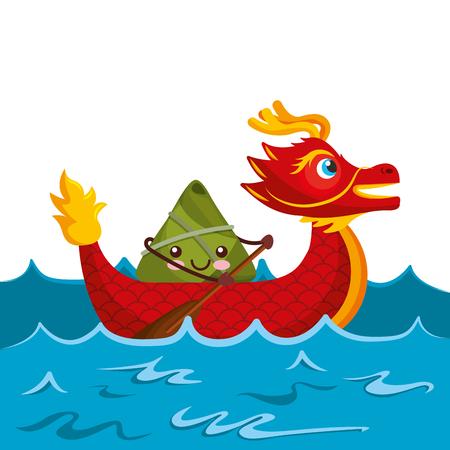 red dragon rice dumpling paddling sea festival vector illustration