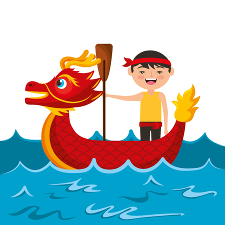 red dragon man rowing festival chinese chinese traditional vector illustration Stock Vector - 94689630