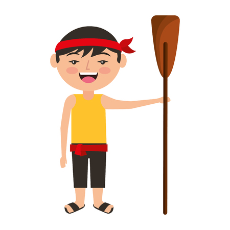 funny cartoon chinese man standing holding wooden oar vector illustration