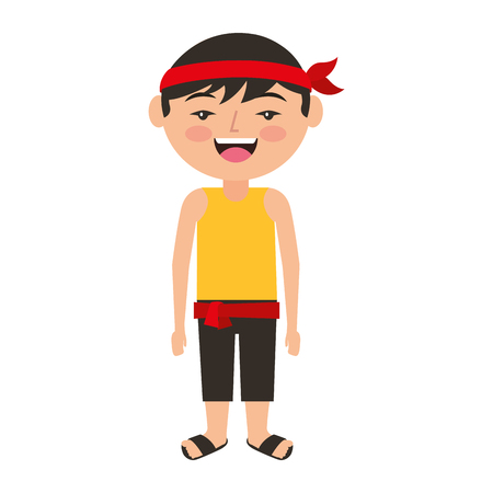 funny cartoon chinese man standing vector illustration