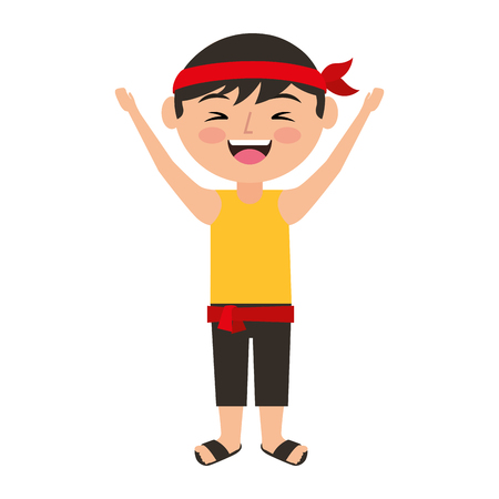 funny cartoon chinese man standing arms up vector illustration Ilustração