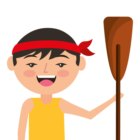 portrait cartoon man chinese with wooden oar vector illustration Illustration
