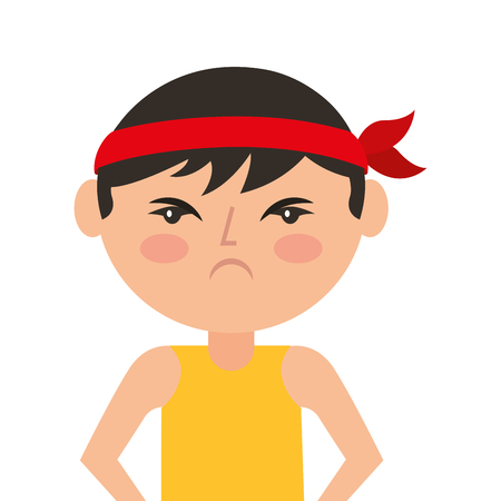 portrait cartoon angry man chinese with head band vector illustration