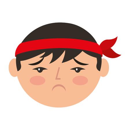 Cartoon verdrietig gezicht chinese man vector illustratie Stockfoto - 94707165