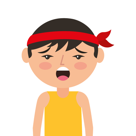 portrait cartoon unhappy man chinese with head band vector illustration 向量圖像