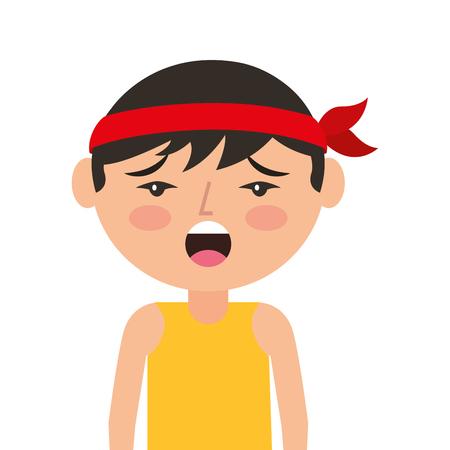 portret cartoon ongelukkige man Chinees met hoofdband vectorillustratie