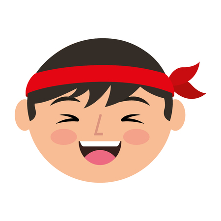 cartoon face laughing chinese man vector illustration Illustration