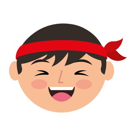 cartoon face laughing chinese man vector illustration Illustration