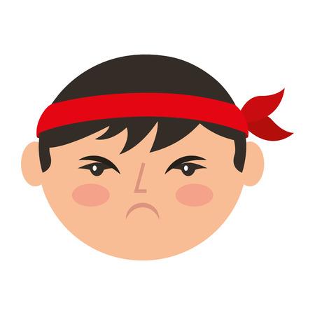 cartoon gezicht boos chinese man vector illustratie