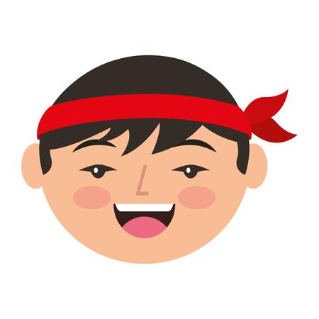 漫画顔漫画幸せな中国人男性ベクトルイラスト