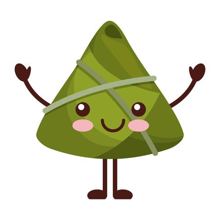kawaii happy rice dumpling cartoon vector illustration Vettoriali