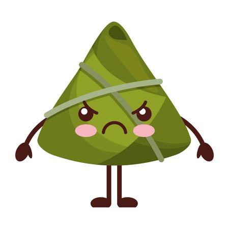 kawaii angry rice dumpling cartoon vector illustration