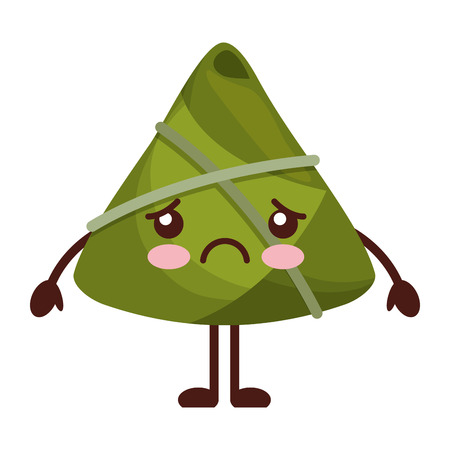 kawaii sad rice dumpling cartoon vector illustration Reklamní fotografie - 94676691