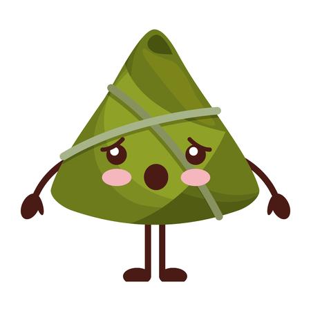 kawaii rice dumpling surprised cartoon vector illustration