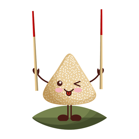 happy rice dumpling holding wooden sticks vector illustration