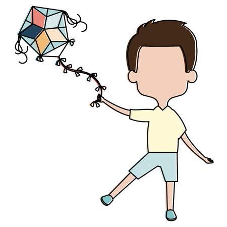 cute and little boy flying a kite vector illustration design
