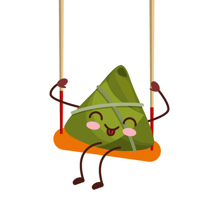 kawaii happy rice dumpling in swing play cartoon vector illustration