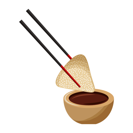 dumpling rice plate and soy sauce with sticks traditional vector illustration Ilustração