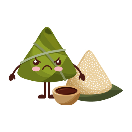 angry rice dumpling with sauce cartoon vector illustration Stock Vector - 94689985