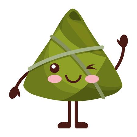 kawaii happy rice dumpling winking cartoon vector illustration