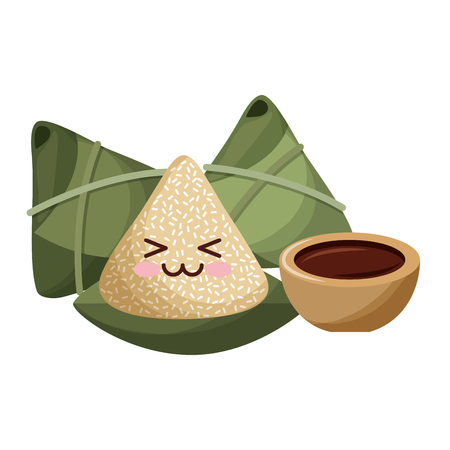 kawaii happy rice dumpling and sauce cartoon vector illustration Ilustração