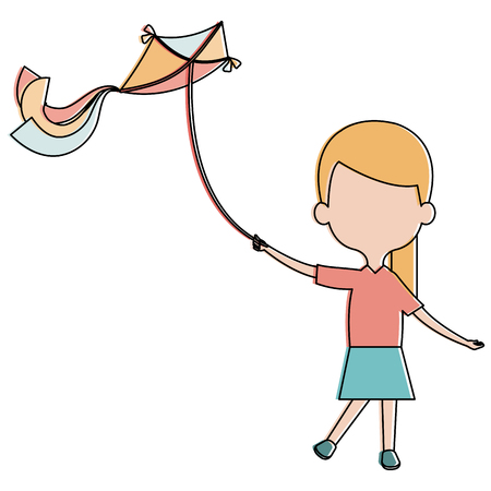 cute and little girl flying a kite vector illustration design Illustration