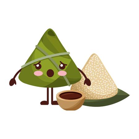 kawaii surprised rice dumpling with sauce cartoon vector illustration Ilustrace