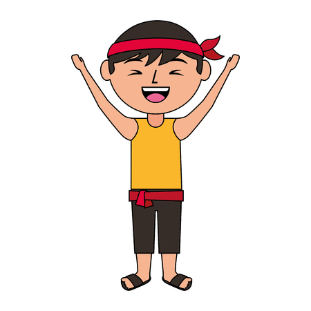 funny cartoon chinese man standing arms up vector illustration Illustration