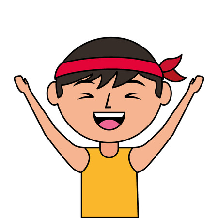 portrait cartoon laughing man chinese with head band vector illustration
