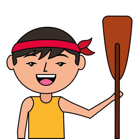 木製オールベクトルイラストを持つ肖像漫画男中国人