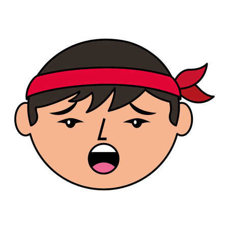 Cartone animato faccia uomo cinese parlando infelice illustrazione vettoriale Archivio Fotografico - 94677156