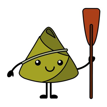 kawaii happy rice dumpling holding wooden oar vector illustration 向量圖像