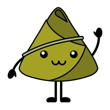 kawaii happy rice dumpling greeting cartoon vector illustration
