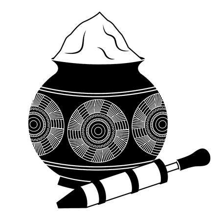 powder color mud pot and for celebration vector illustration black and white design