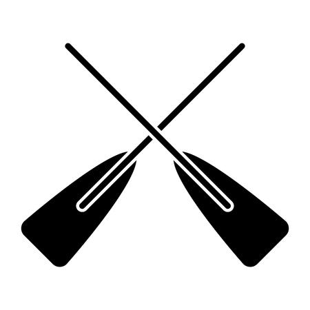 두 나무 넘어 보트 oars 스포츠 벡터 일러스트 흑백 디자인 일러스트