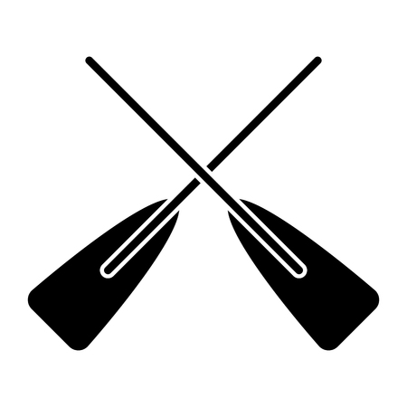 two wooden crossed boat oars sport vector illustration black and white design