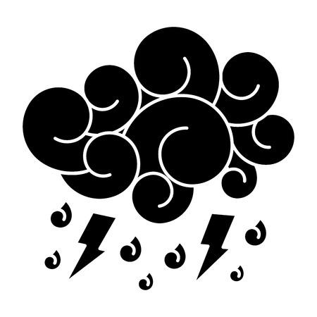 blue cloud lightning raindrops cartoon image vector illustration black and white design