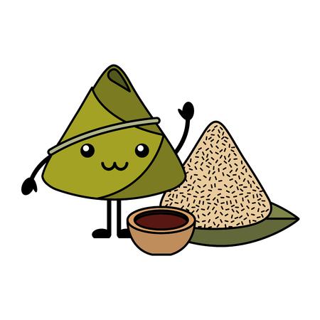 Bolinho de arroz feliz com ilustração em vetor molho dos desenhos animados Foto de archivo - 94678027