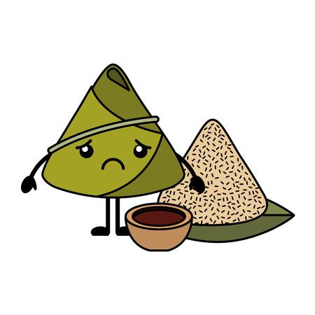 sad rice dumpling with sauce cartoon vector illustration